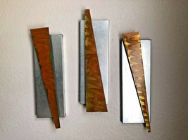 Abstract three piece metal wall art sculpture farmhouse rustic by Holly ... - $98.53