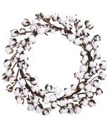 """20"""" Cotton Ball Wreath Country Decor Farmhouse Gitfs - $62.36"""