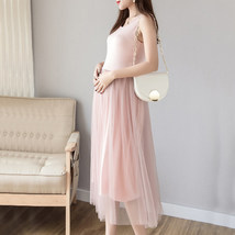 Maternity Dress Solid Color O Neck Sleeveless Tulle Dress image 4