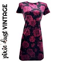 Vintage Velvet Dress 90s 00s Y2K Grunge Roses Sparkly Sparkles Floral Si... - $43.79
