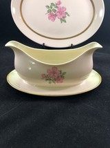 FRANCISCAN china CHEROKEE ROSE GOLD BAND pattern GRAVY BOAT W/ UNDERPLATE - $29.65