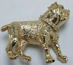 """Gold Tone French Bulldog Figural 3D Brooch w Rhinestone Collar 2"""" x 1 3/... - $14.95"""