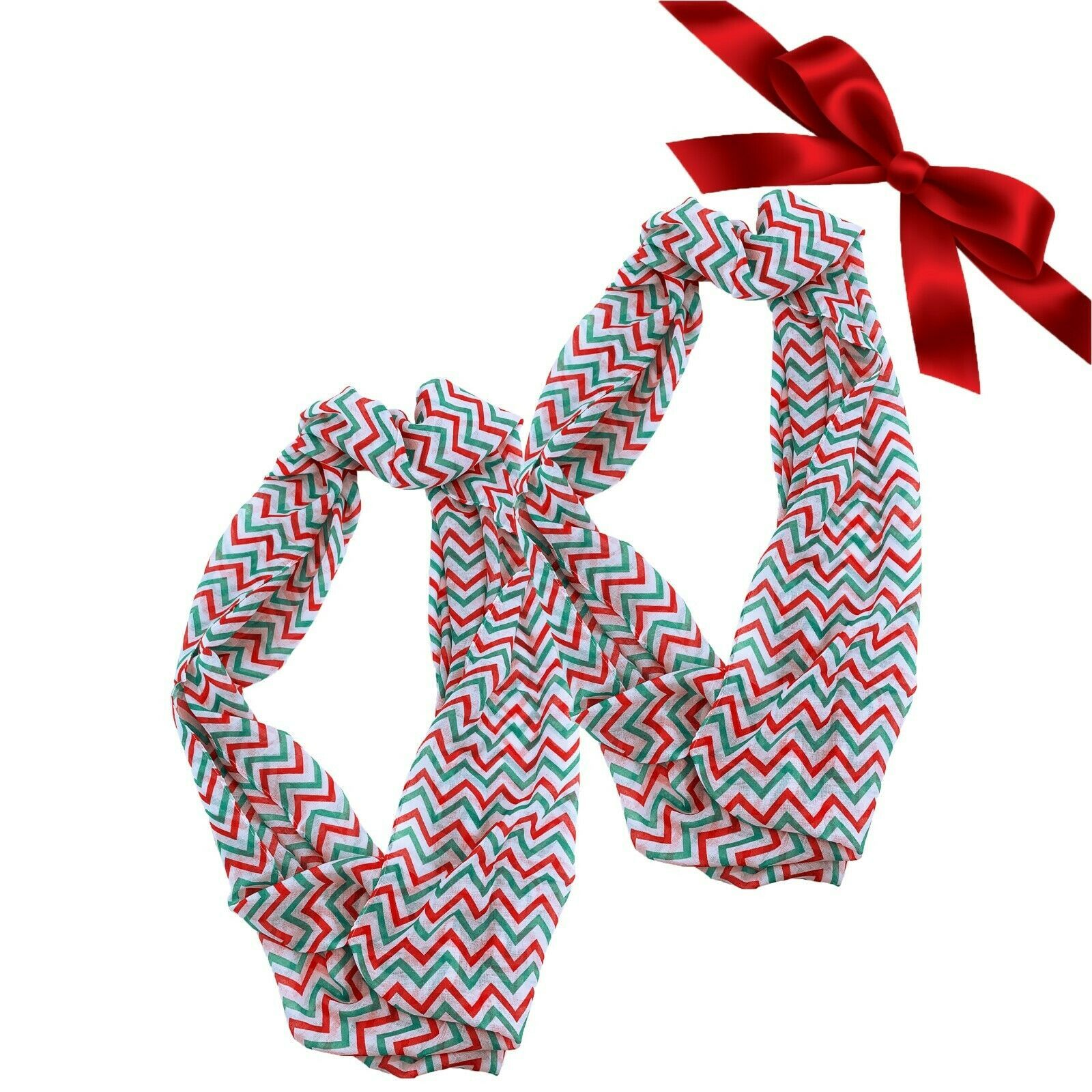 Primary image for 2pk Christmas Chevron Striped Sheer Infinity Scarves Gift Set Shawl Wraps