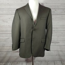Burberry London Mens 42 Short Suit Jacket Wool Dark Gray Striped 2 Button - $47.67