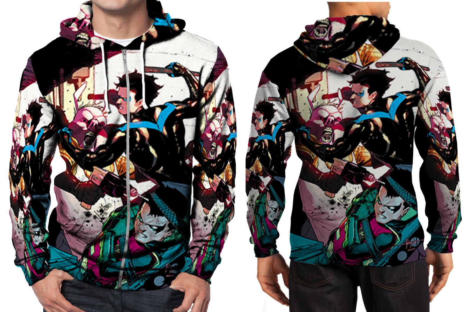 Nightwing fight  zipper hoodie men s
