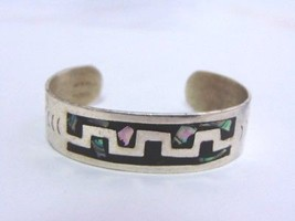 Vintage Estate Sterling Silver Abalone Alpaca Cuff Bracelet 22.6g E1467 - $85.00