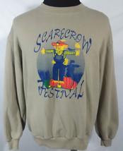 Scarecrow Festival Unisex Large Sweatshirt Beige Vtg 80s Fall Halloween ... - $24.74