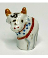 "Vintage Chinese Hand Painted Zodiac Animal Shaped Thimble Porcelain ""Ox"" V10 - £9.50 GBP"