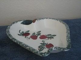 Chaparral Pottery USA Apple Fruit Pie Baking Dish Green Sponge Top Multi... - $12.16