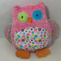 Mary Meyer Owl Plush pink green blue dots flowers beanbag pillow decor toy - $7.91