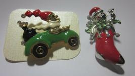 TWO ENAMEL CHRISTMAS PINS WITH SWAROVSKI CRYSTALS JESTER STOCKING SANTA CAR - $6.99