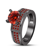 Women's Engagement Ring Round Cut Red Garnet Black Gold Plated Pure 925 ... - $88.99