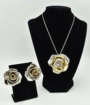 VTG Yaacov Heller Large Puffy Rose Earrings Zadok Pin Brooch Set Sterlin... - $287.96