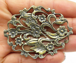 925 Sterling Silver - Vintage Swirly Floral Vine Etched Brooch Pin - BP2862 - $52.08