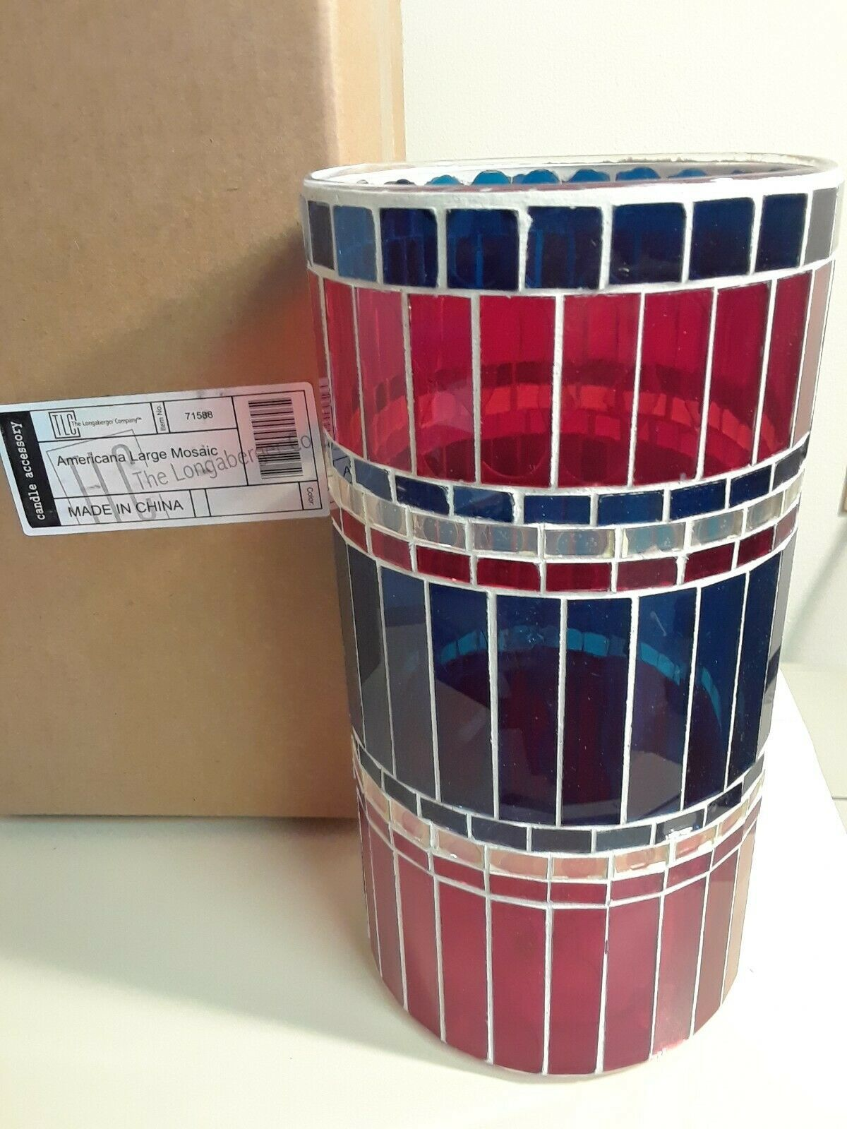Primary image for Longaberger Americana Large Mosaic Candle Holder Red White Blue