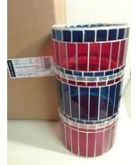 Longaberger Americana Large Mosaic Candle Holder Red White Blue - $39.55