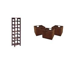 Winsome Wood 4-Shelf Narrow Shelving Unit, Espresso + Winsome Wood Small... - $96.40