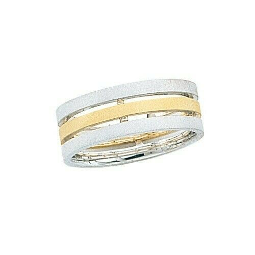 Primary image for 14k two Tone Gold Triple Wedding Band Brushed Finish 7.5 mm size 4 to 13