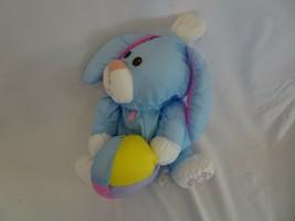 Puffalump Fisher Price Vintage Blue Satin Plush Easter Bunny Rabbit 1988 - $34.64