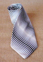 Vintage Perry Ellis Imported Silk Men Tie Made USA Retro Gray Grey White Striped - $29.99