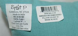 Split P 2806053CVR Pillow Plus Turquoise Margaux Geo Embroidered Cover 16 In image 7