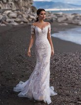 Elegant Illusion Lace Appliqued Mermaid Wedding Dresses Long Sleeve Beach Weddin image 5