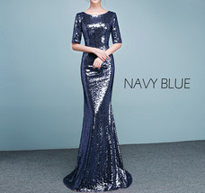 Half Sleeve Fit Gold Maxi Sequin Dress Wedding Party Maxi Gold Sequin Dress Gown image 12