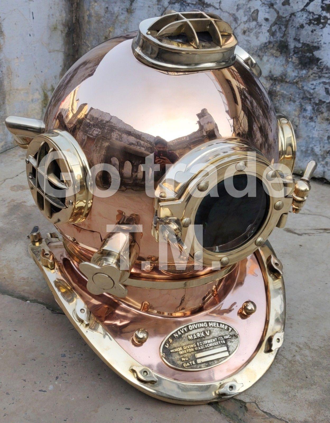 Maritime Us Navy Boston Dive Helmet Scuba Mark V Diving Divers Helmet Christmas Gift Antiques