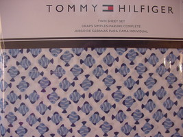 Tommy Hilfiger Blue Fish on White Sheet Set Twin - $42.00