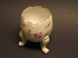 Vintage Egg Shaped Vase with Hand-Painted Roses and Gold Leaf Accents by... - $25.00