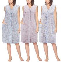 Women's Sleeveless Pearl Snap Button Floral Duster Nightgown Lounger Robe G168 image 1