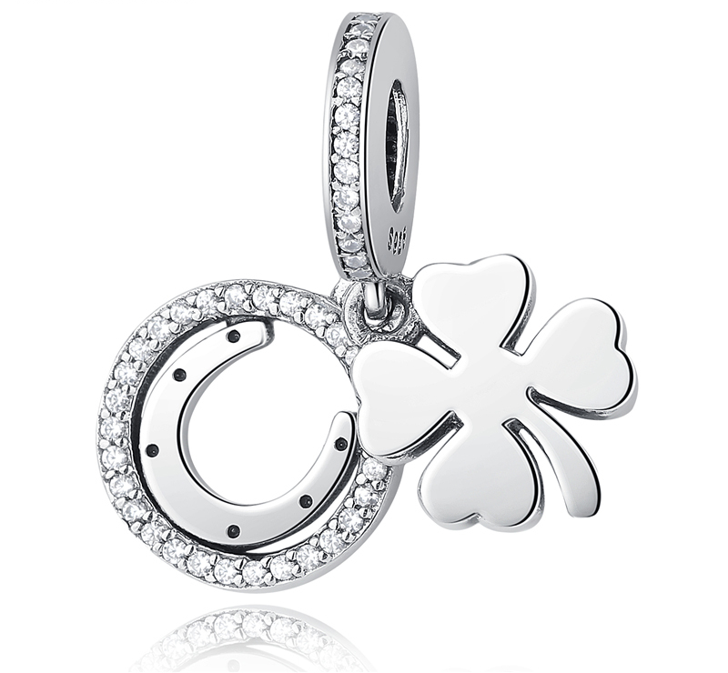 Primary image for Buy Authentic 925 Sterling Silver Bead Charm Lucky Day Clover Crystal CZ Pendant
