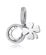 Buy Authentic 925 Sterling Silver Bead Charm Lucky Day Clover Crystal CZ... - $14.99