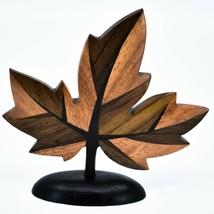 Northwoods Handmade Wooden Parquetry Canadian Maple Leaf Sculpture Figurine