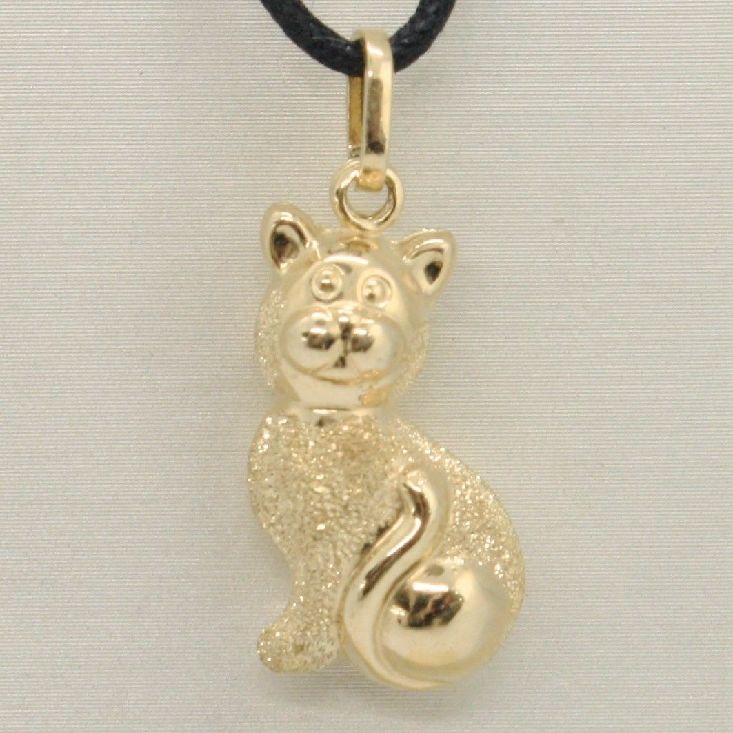 18K YELLOW GOLD ROUNDED CAT PENDANT CHARM 27 MM, SMOOTH & SATIN, MADE IN ITALY