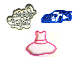 Racecars Or Ruffles Gender Baby Shower Set Of 3 Cookie Cutter 3D USA PR1206 - $7.99