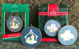 Hallmark Lot of 2 Cameo Ornaments 1989 The First Christmas & 1991 Jesus Loves Me - $18.70