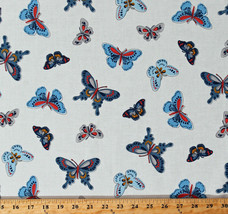 Cotton Butterflies Butterfly Insects Bugs All-A-Flutter Fabric Print BTY... - $10.95