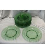 """12 Vintage Spartan Green Fostoria Glass Salad Lunch Dessert Plates 7.25""""... - $183.15"""
