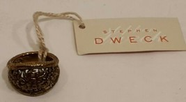 Stephen Dweck Floral Etched Bronze Ring And Earring Set. Sz 6.5 - $140.24