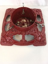 """Vtg Heavy Red 21 LB 14 1/2""""x14 1/2"""" Cast Iron Ornate Christmas Tree Stand - $68.31"""