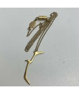 1928 Bird in Flight Pendant Necklace Gold Tone Dainty Signed Barrel Clasp - $14.81