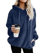Women's Chunky Long Sleeve Sweatshirt Pullover Zipper Front Fleece Hoodie - $25.88