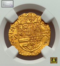 Spain 1 Escudo 1556-80 Gold Cob Doubloon Ngc Unc Dets! Likely Golden Fleece Coin - $2,450.00
