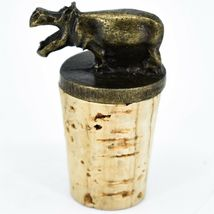 South African Cast Metal w Antique Brass Finish Hippo Wine Bottle Cork Stopper image 3
