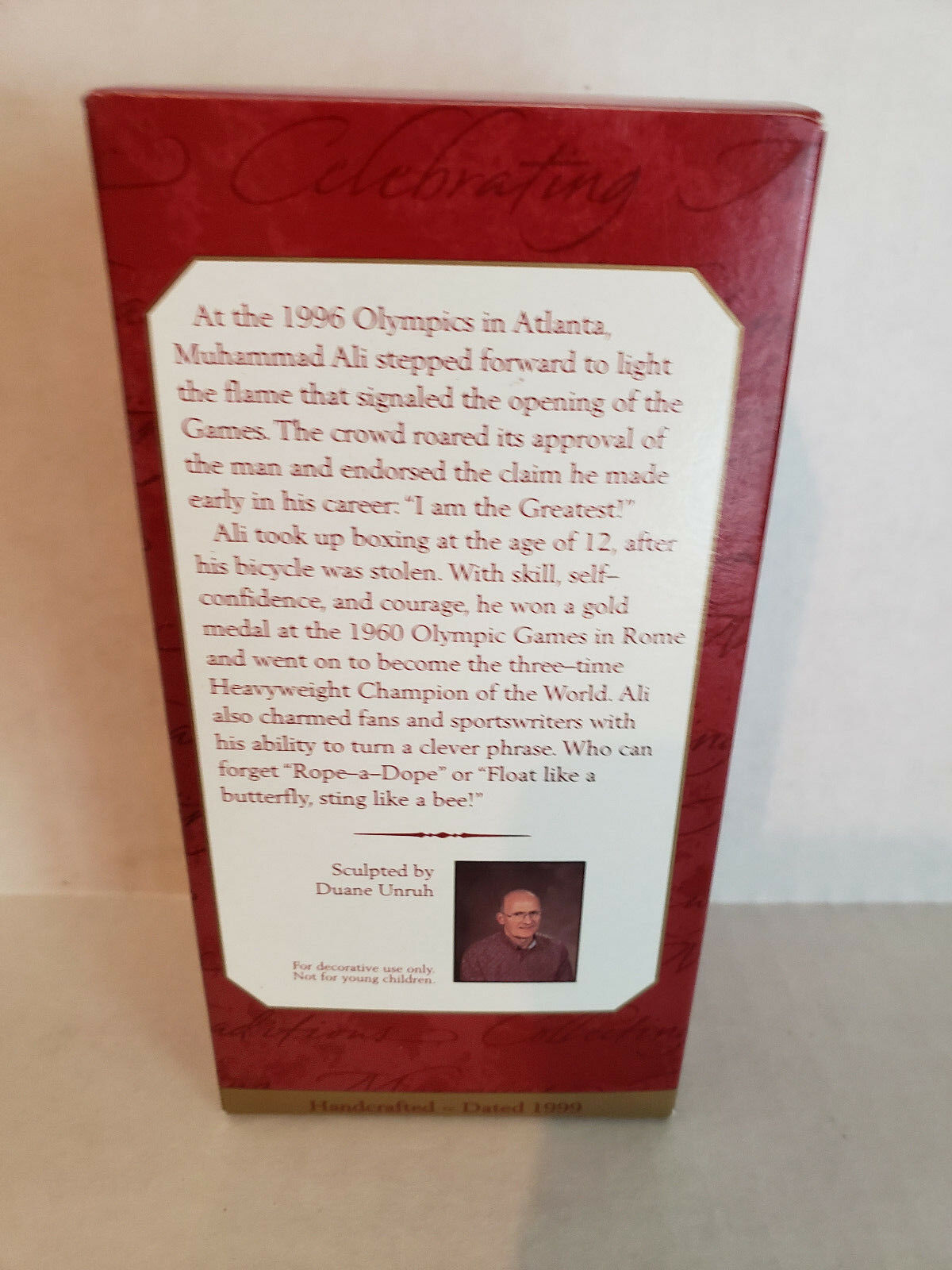 1999 Muhammad Ali Boxing Great Hallmark Keepsake Christmas Ornament Orig. Box image 2