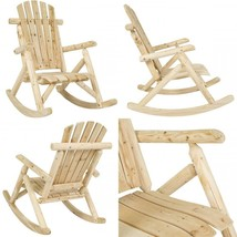 Best Choice Products Indoor Outdoor Wooden Log Rocking Chair Seat Accent... - $134.60