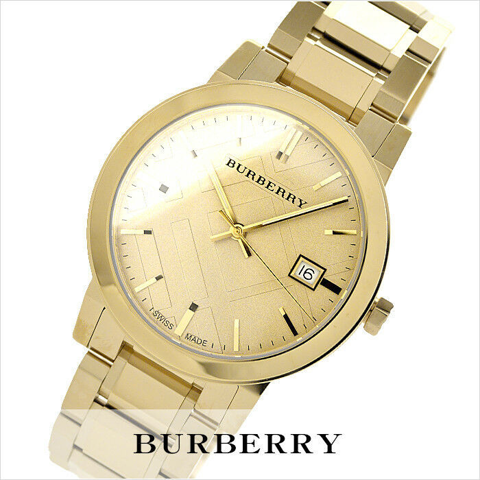 NEW Burberry BU9033 Beige / Gold Stainless Steel Analog Quartz Unisex Watch