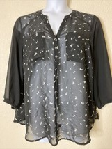 Maurices Women Size 1 Black with White Leaf Pattern Sheer Blouse  - $12.57