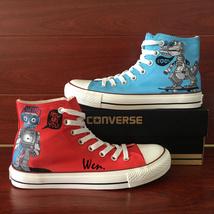 Original Design Robots Dragon Converse Shoes Hand Painted Canvas Sneakers Unisex - $169.00